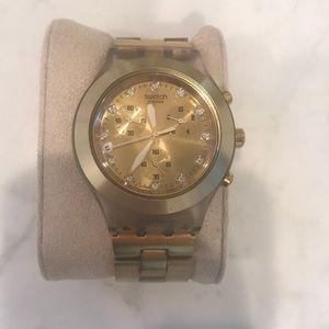 SWATCH Satin brass oversized watch.  Gorgeous